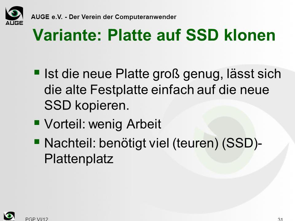 Variante: Platte auf SSD klonen