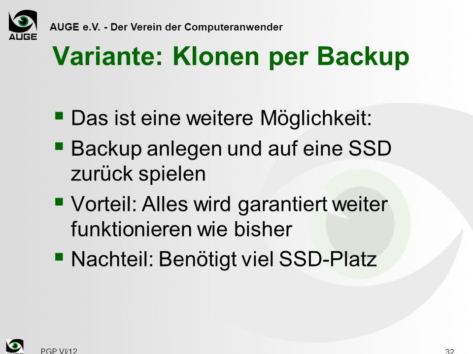 Variante: Klonen per Backup