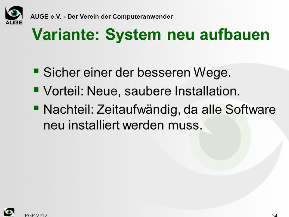 Variante: System neu aufbauen