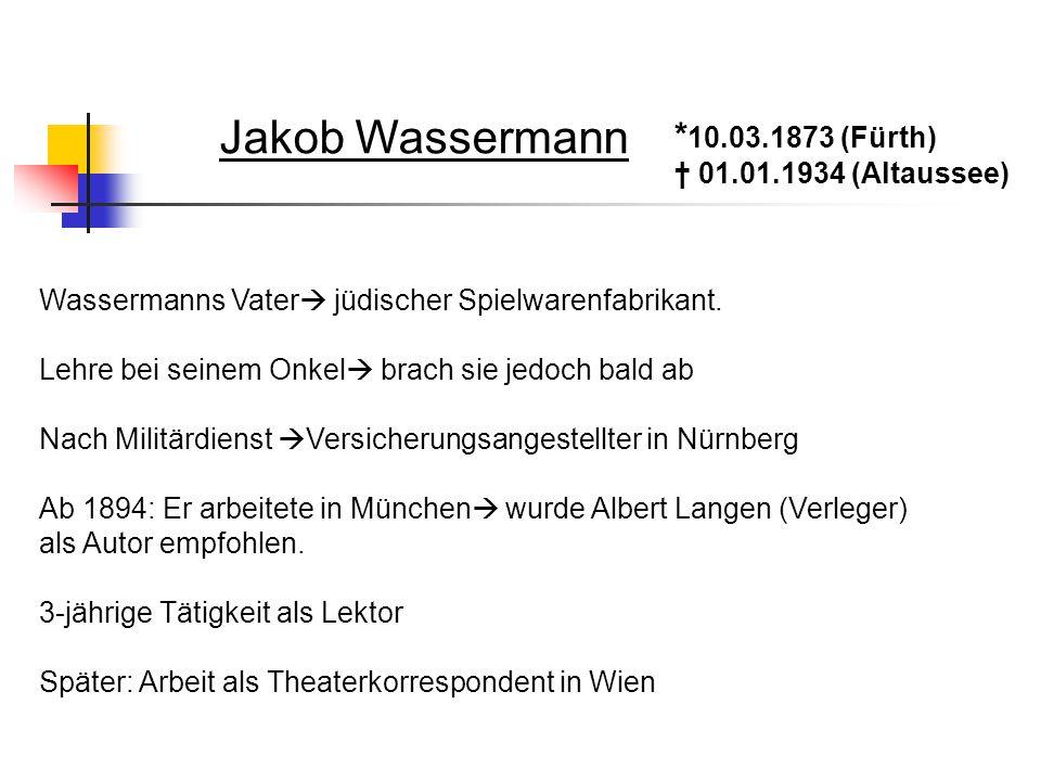 Jakob Wassermann *10.03.1873 (Fürth) † 01.01.1934 (Altaussee)