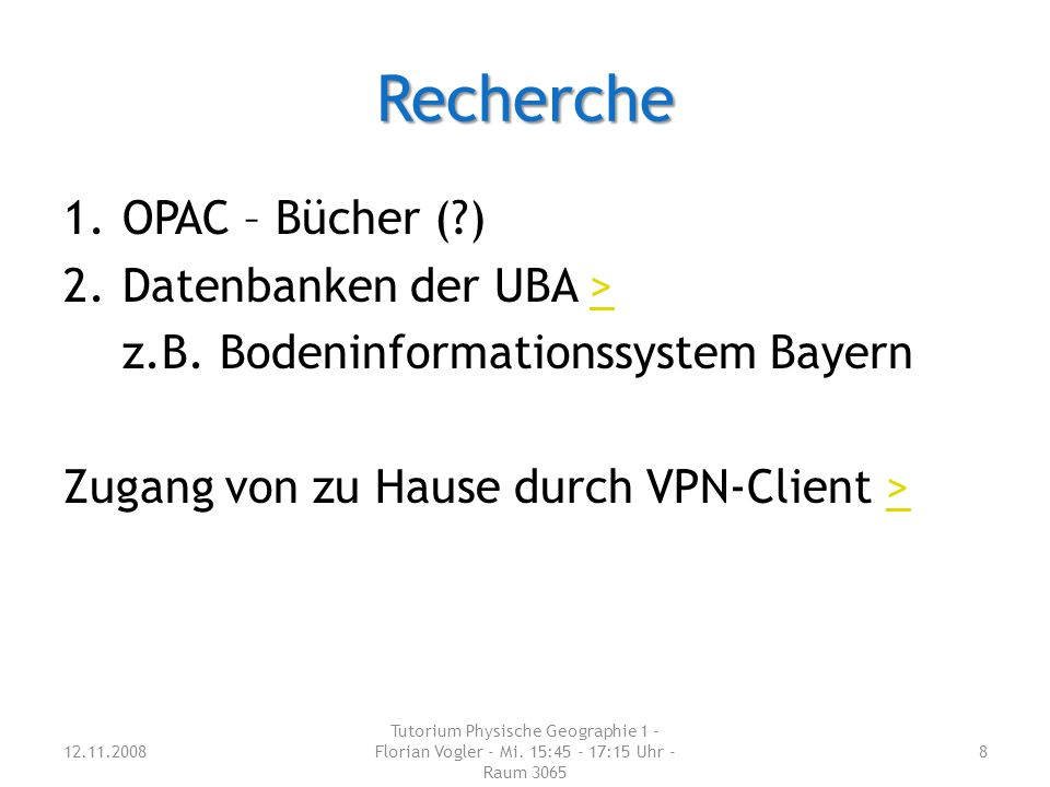 Recherche OPAC – Bücher ( ) Datenbanken der UBA >