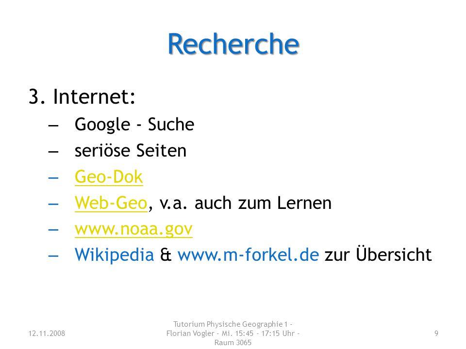 Recherche 3. Internet: Google - Suche seriöse Seiten Geo-Dok