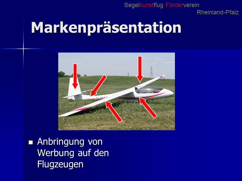 Markenpräsentation Anbringung von Werbung auf den Flugzeugen