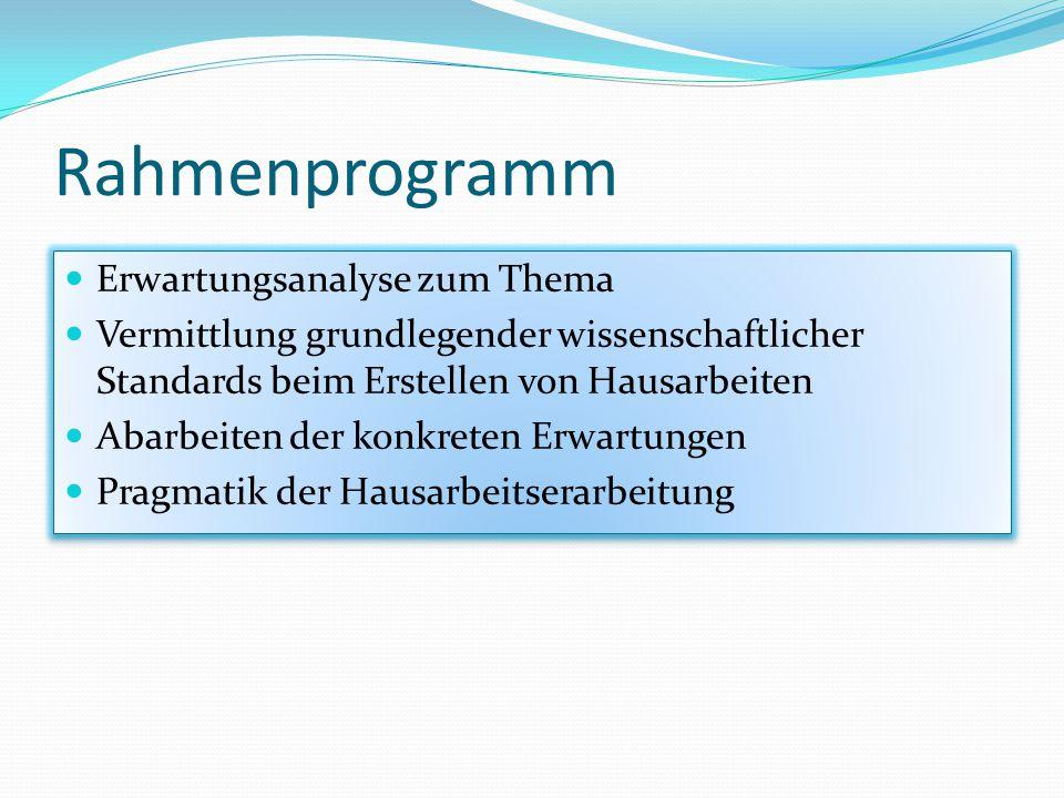 Rahmenprogramm Erwartungsanalyse zum Thema