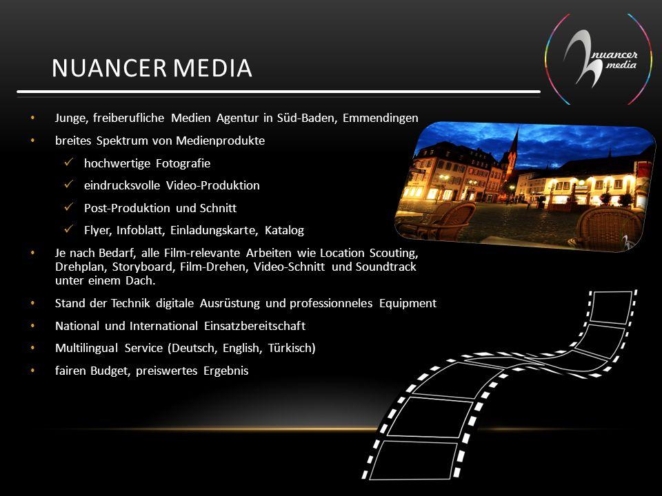 Nuancer media Junge, freiberufliche Medien Agentur in Süd-Baden, Emmendingen. breites Spektrum von Medienprodukte.