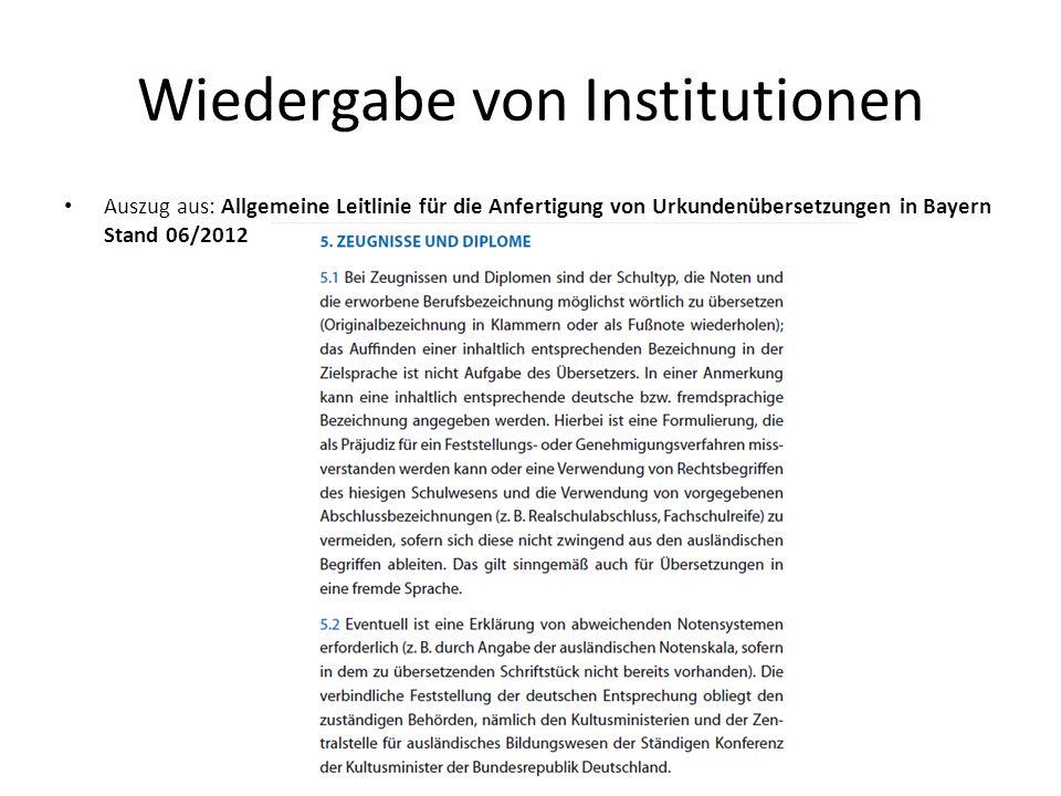 Wiedergabe von Institutionen