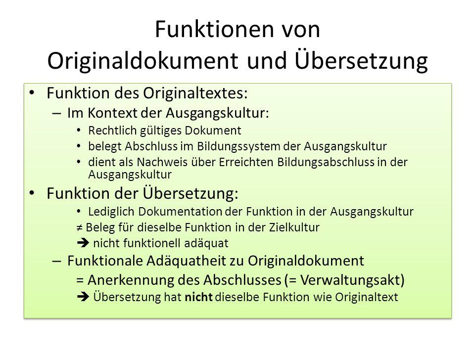 Funktionen von Originaldokument und Übersetzung