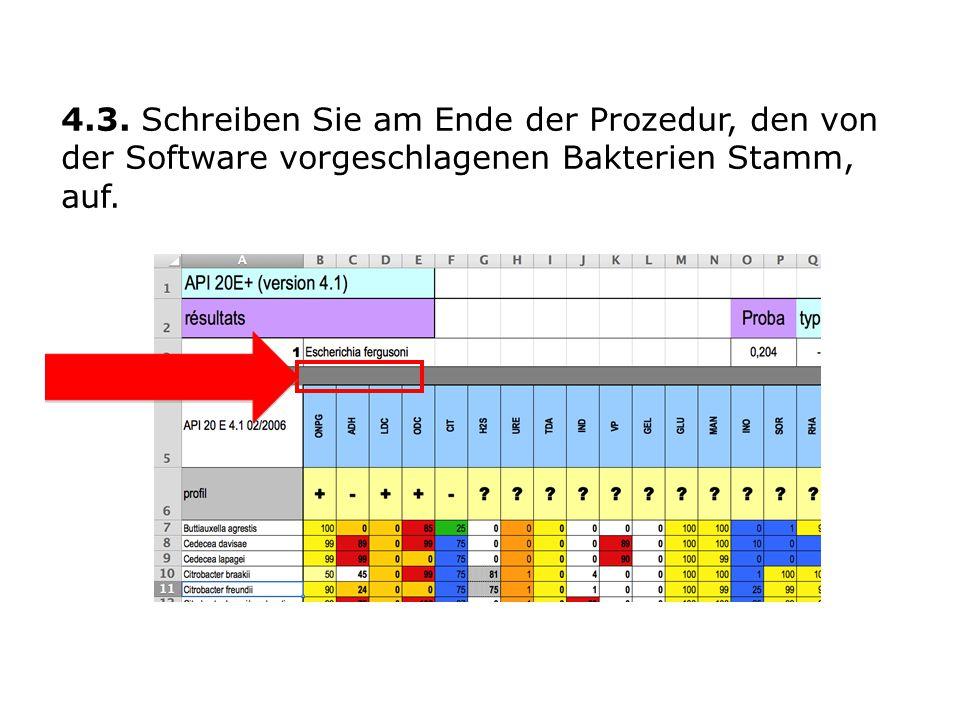 4.3. Schreiben Sie am Ende der Prozedur, den von der Software vorgeschlagenen Bakterien Stamm, auf.