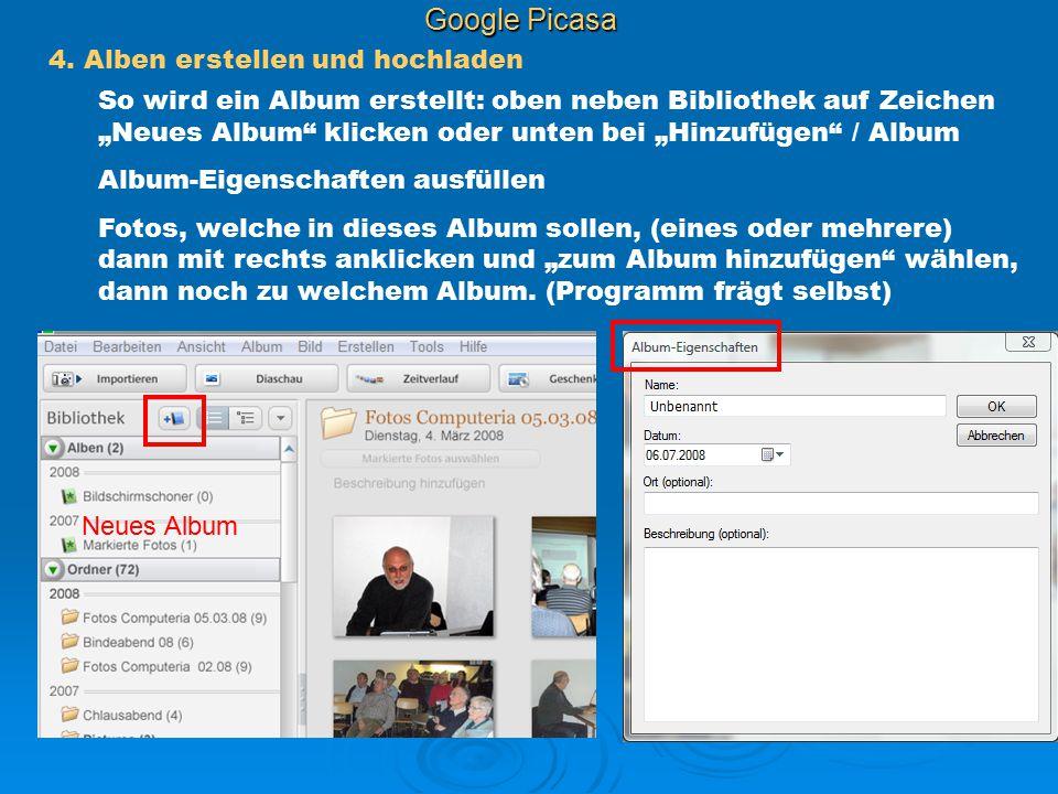 Google Picasa 4. Alben erstellen und hochladen