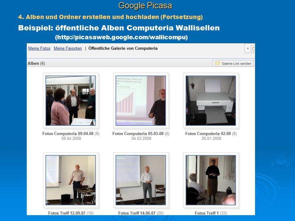 Google Picasa 4. Alben und Ordner erstellen und hochladen (Fortsetzung)