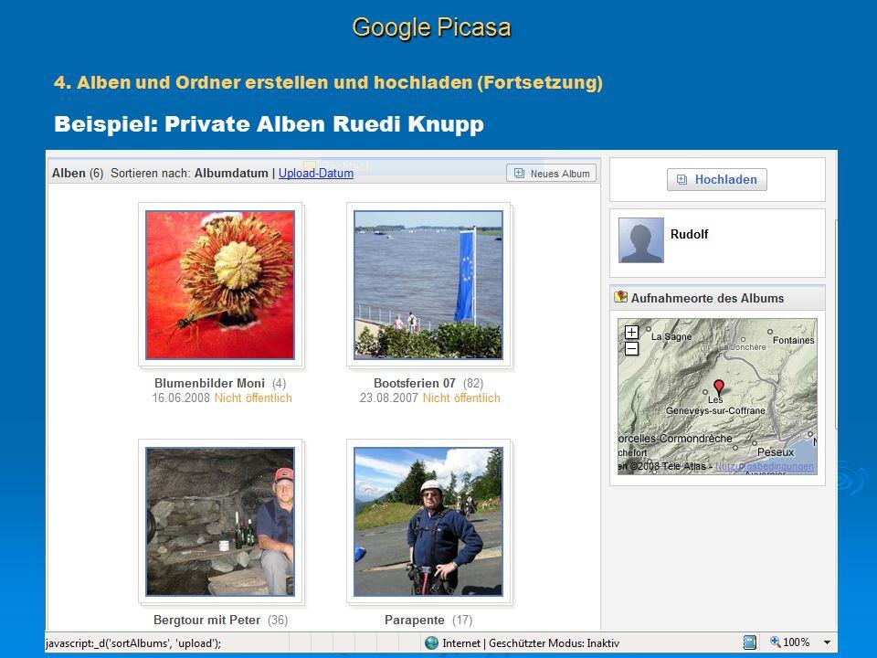 Google Picasa Beispiel: Private Alben Ruedi Knupp