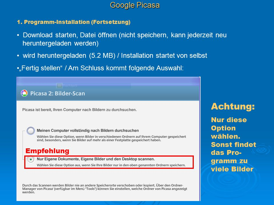 Achtung: Google Picasa