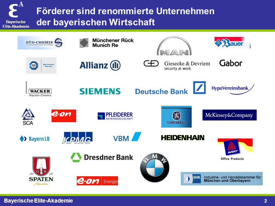 Förderer sind renommierte Unternehmen der bayerischen Wirtschaft