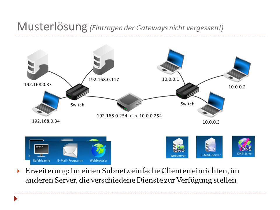 Musterlösung (Eintragen der Gateways nicht vergessen!)