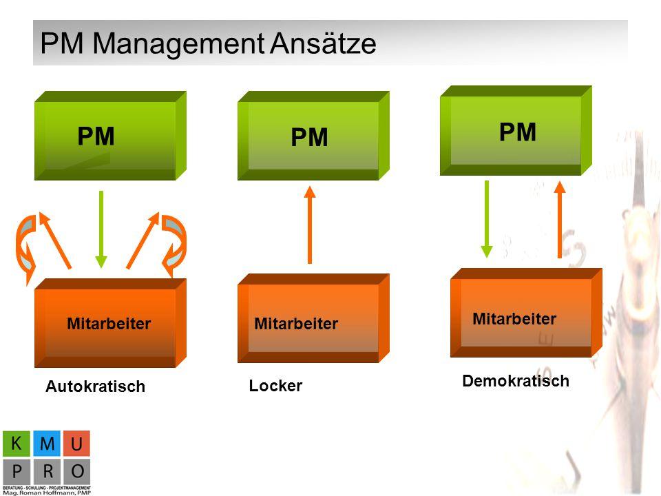 PM Management Ansätze PM PM PM PM Mitarbeiter Mitarbeiter Mitarbeiter