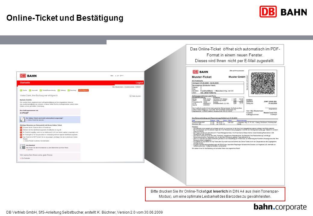 Online-Ticket und Bestätigung