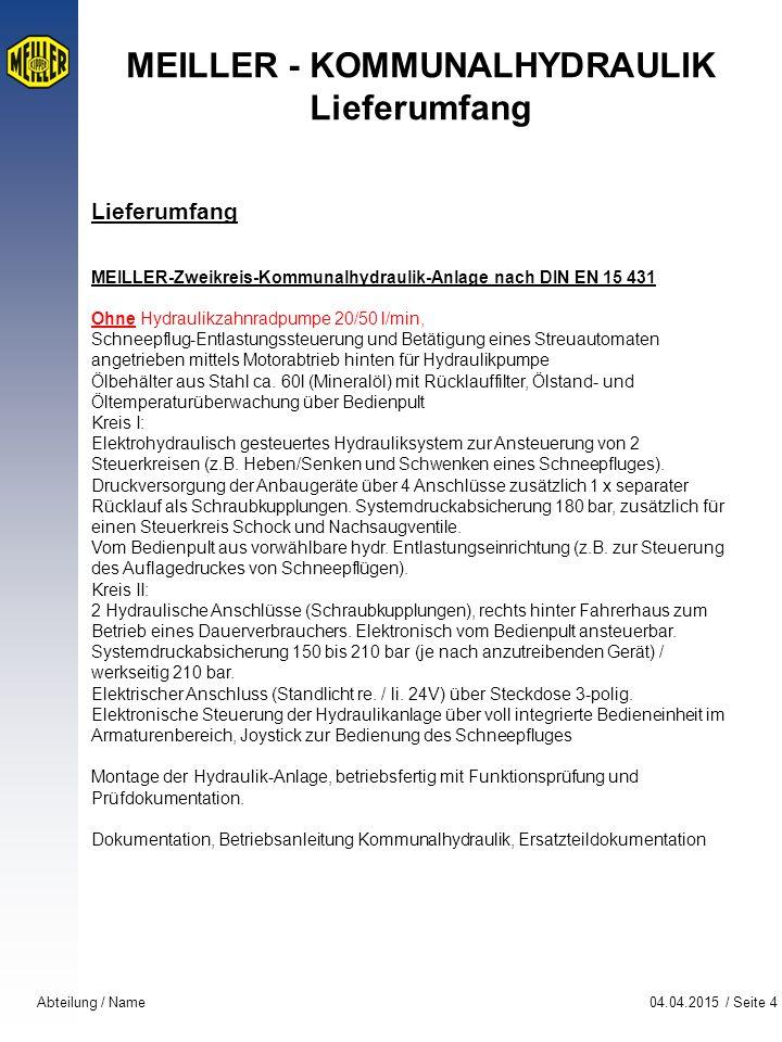 MEILLER - KOMMUNALHYDRAULIK Lieferumfang
