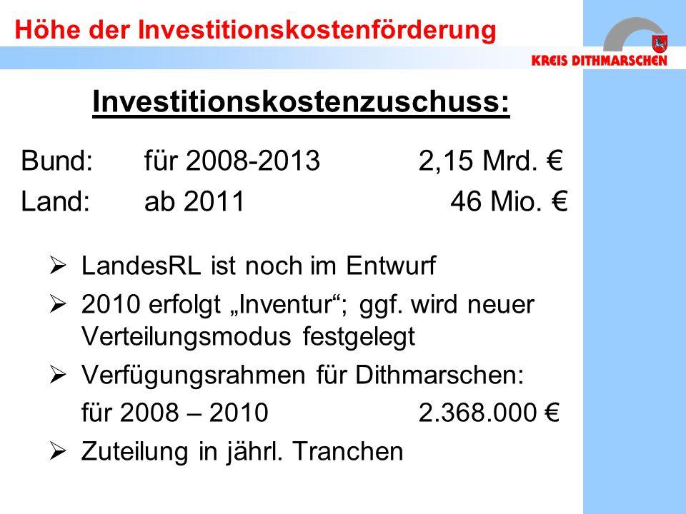 Höhe der Investitionskostenförderung