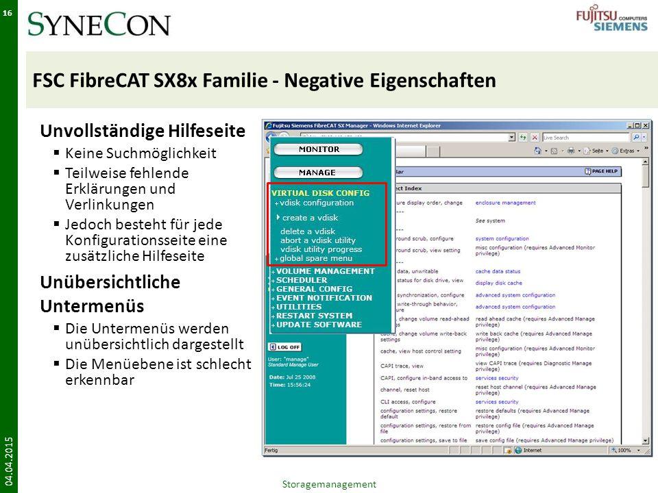 FSC FibreCAT SX8x Familie - Negative Eigenschaften