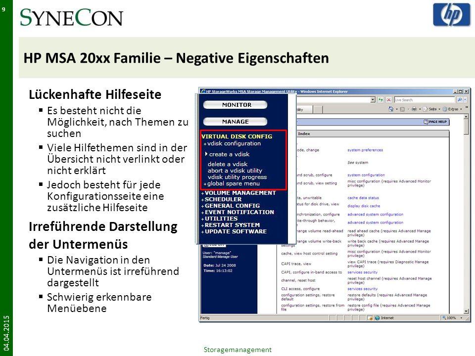 HP MSA 20xx Familie – Negative Eigenschaften