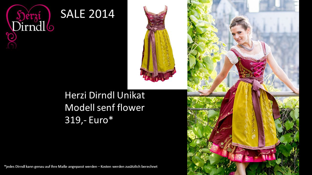SALE 2014 Herzi Dirndl Unikat Modell senf flower 319,- Euro*