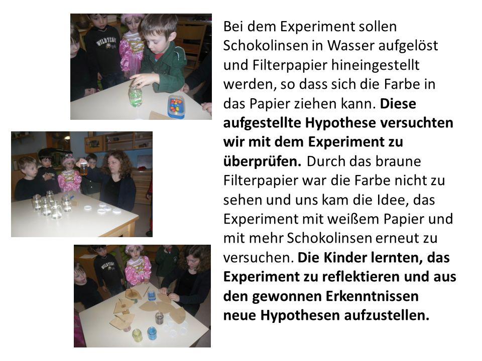 Bei dem Experiment sollen Schokolinsen in Wasser aufgelöst und Filterpapier hineingestellt werden, so dass sich die Farbe in das Papier ziehen kann.