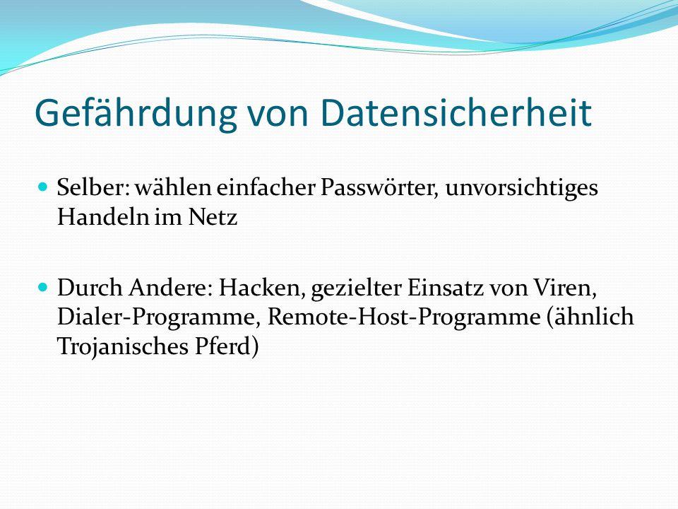 Gefährdung von Datensicherheit