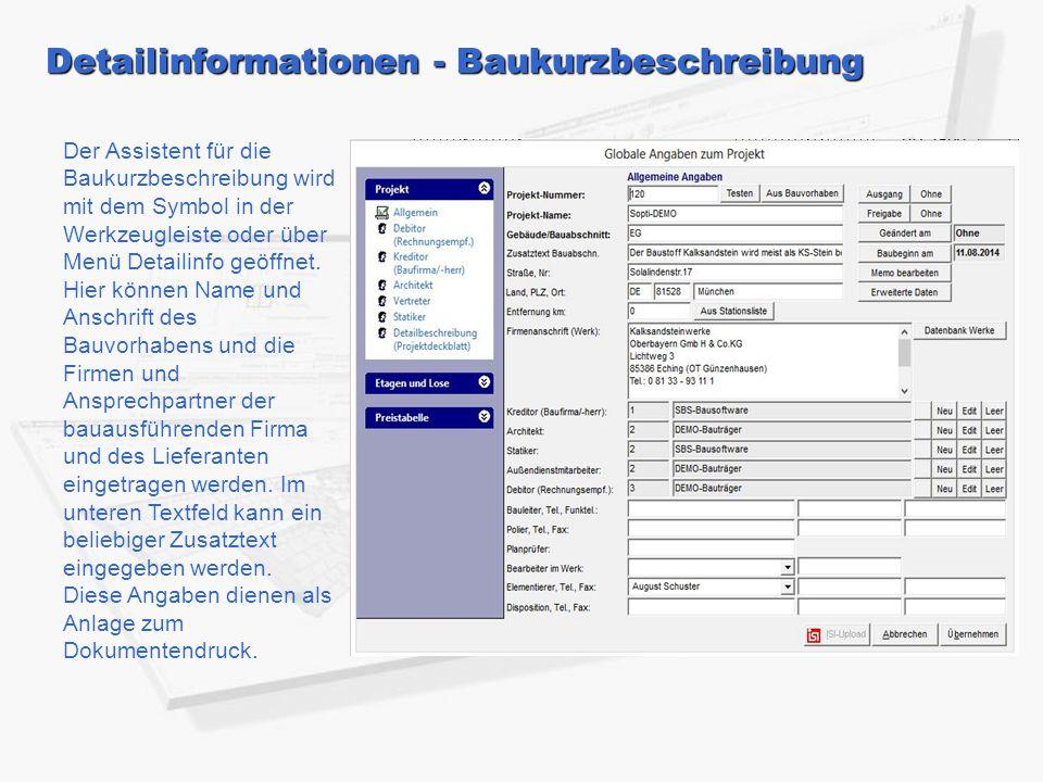Detailinformationen - Baukurzbeschreibung