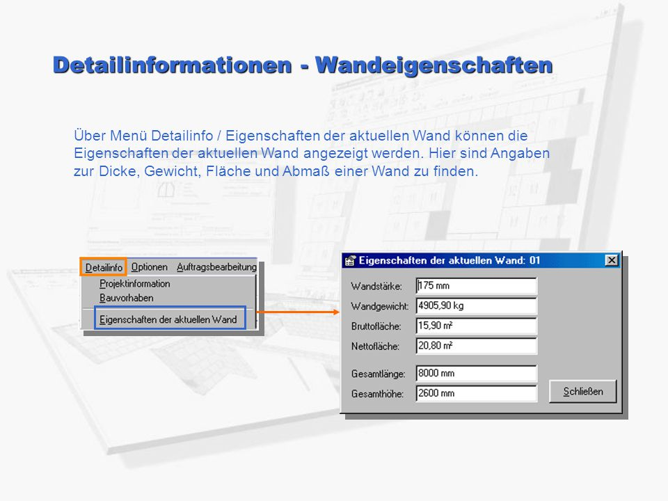 Detailinformationen - Wandeigenschaften