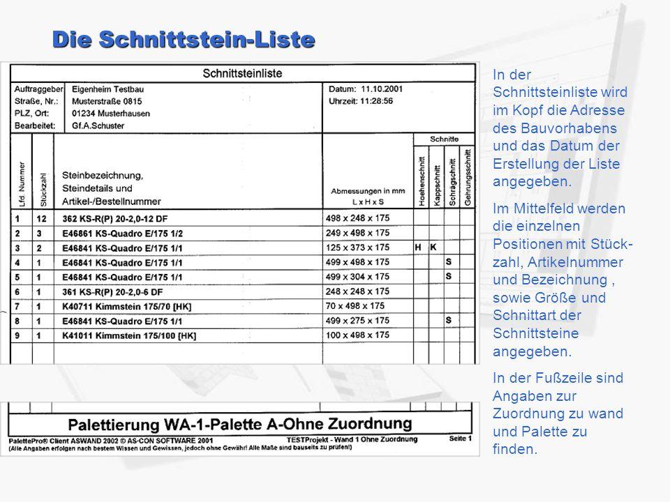 Die Schnittstein-Liste