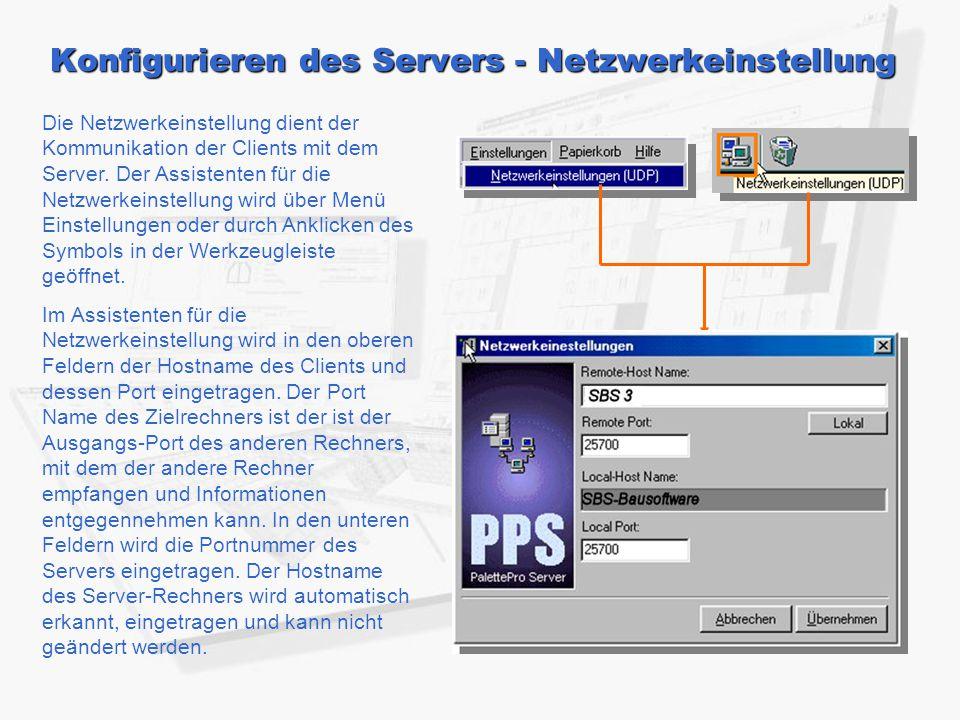 Konfigurieren des Servers - Netzwerkeinstellung