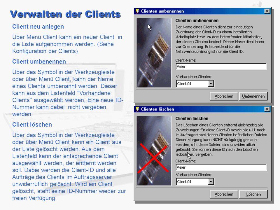 Verwalten der Clients Client neu anlegen