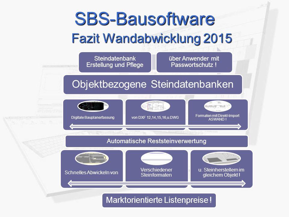 SBS-Bausoftware Fazit Wandabwicklung 2015