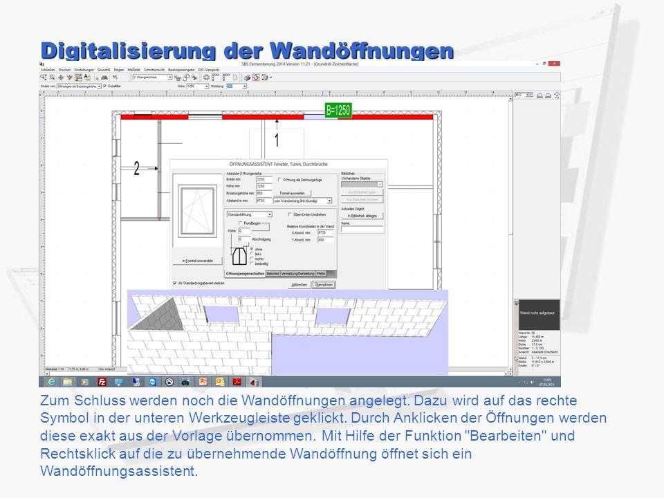 Digitalisierung der Wandöffnungen