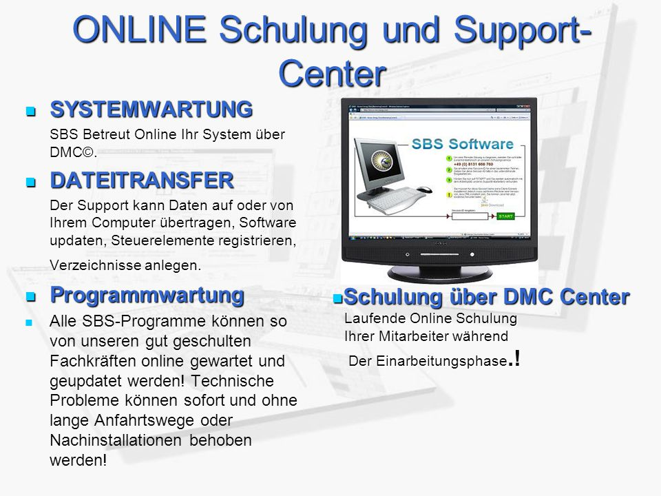 ONLINE Schulung und Support-Center