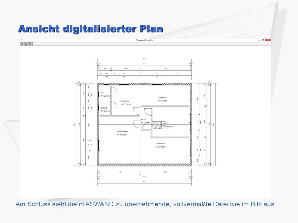 Ansicht digitalisierter Plan