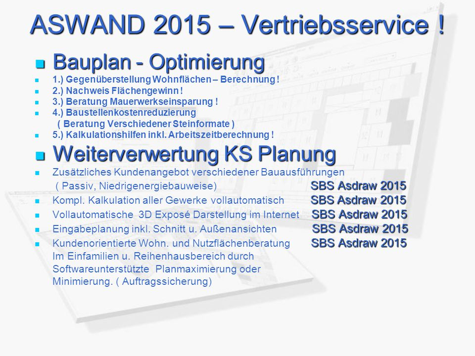 ASWAND 2015 – Vertriebsservice !