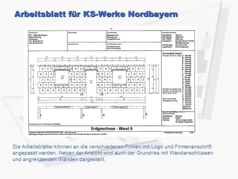 Arbeitsblatt für KS-Werke Nordbayern