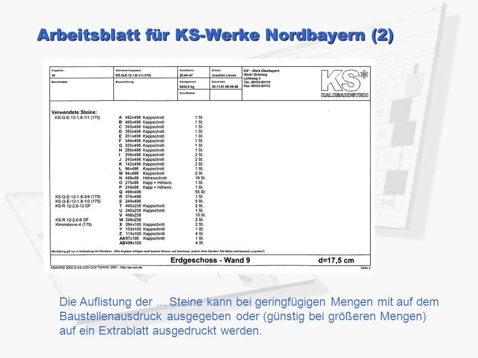 Arbeitsblatt für KS-Werke Nordbayern (2)