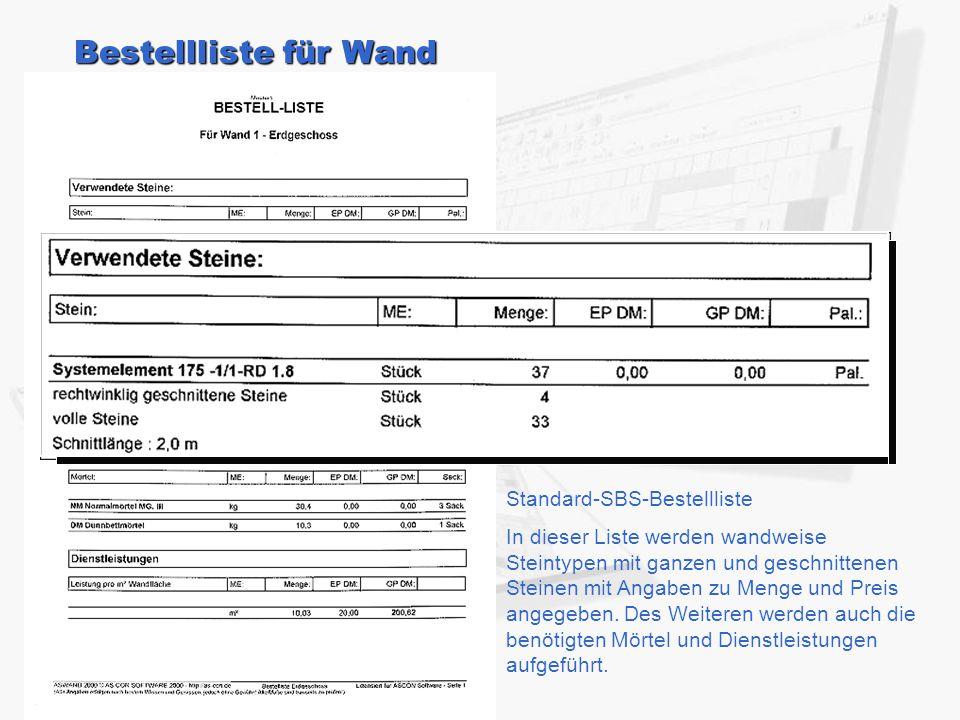 Bestellliste für Wand Standard-SBS-Bestellliste