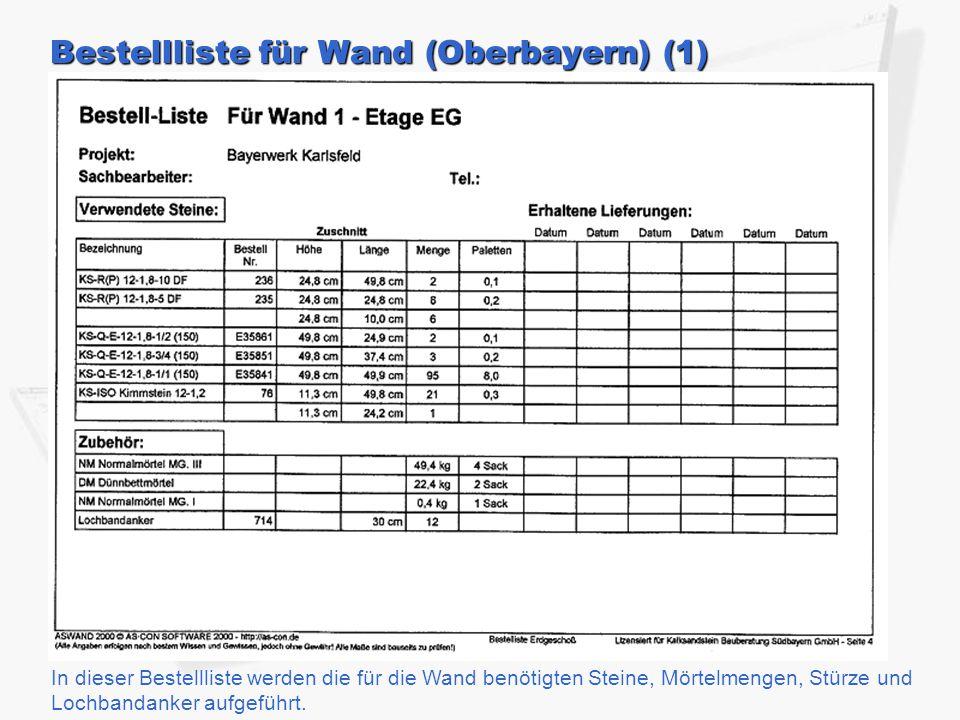 Bestellliste für Wand (Oberbayern) (1)
