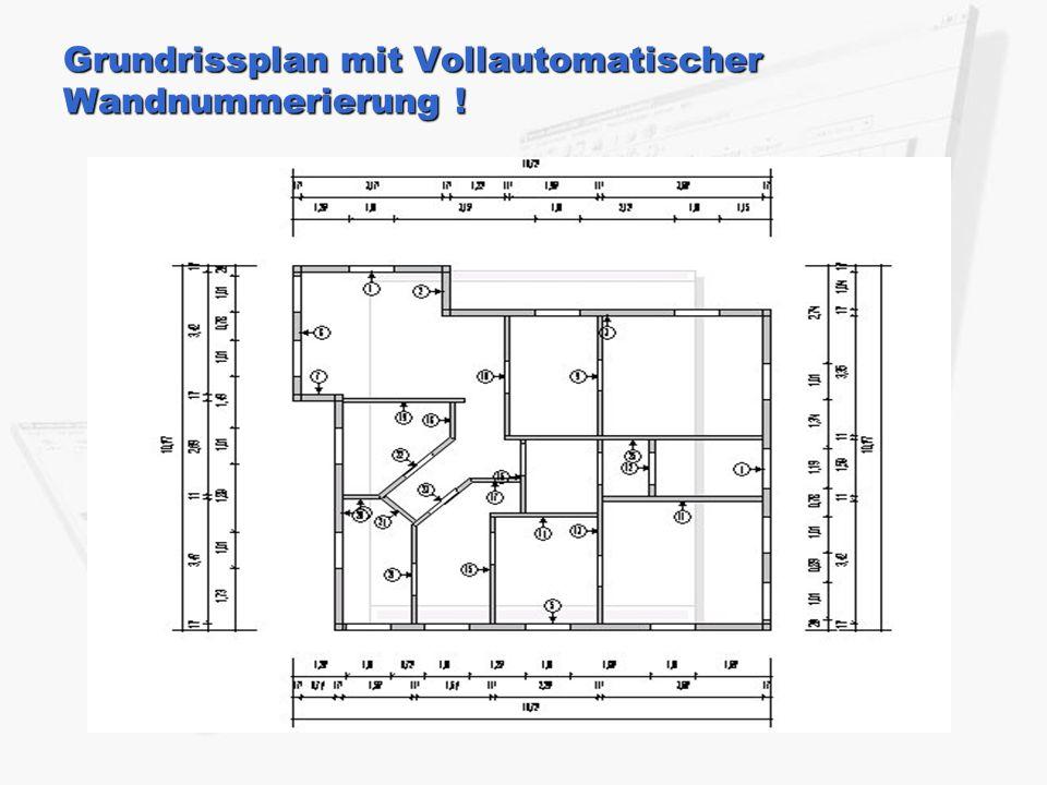 Grundrissplan mit Vollautomatischer Wandnummerierung !