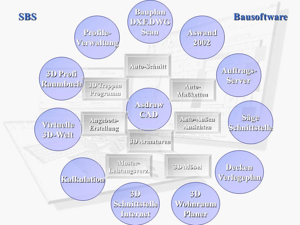 SBS Bausoftware Bauplan DXF.DWG Scan Profile- Verwaltung Aswand 2002