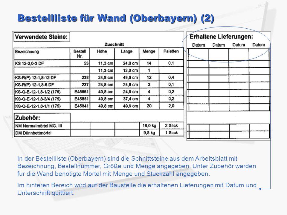 Bestellliste für Wand (Oberbayern) (2)