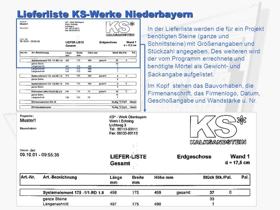 Lieferliste KS-Werke Niederbayern