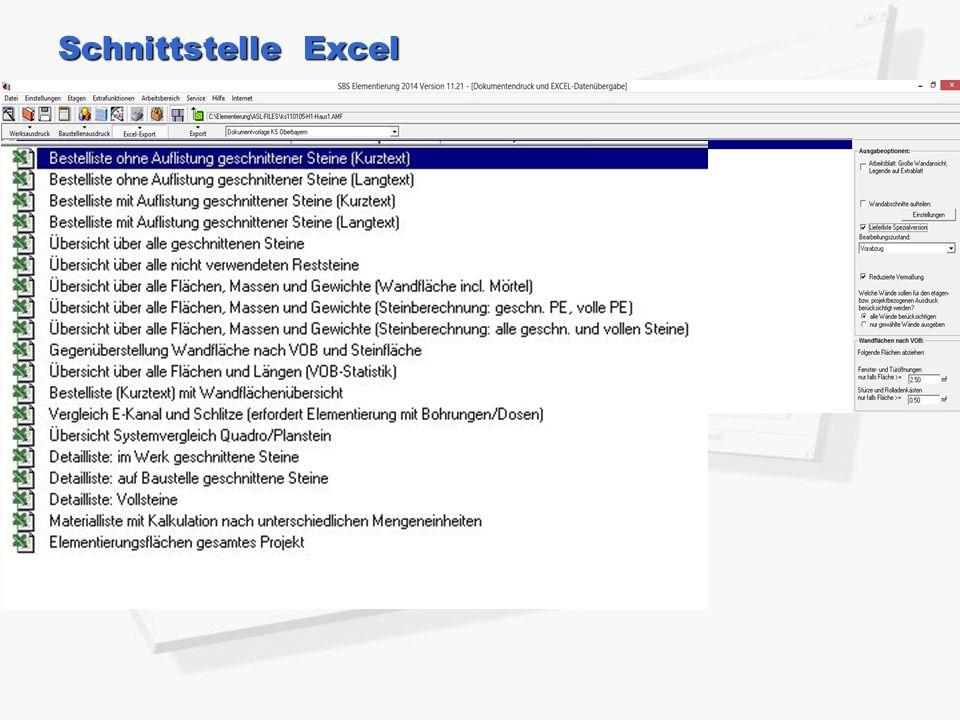 Schnittstelle Excel