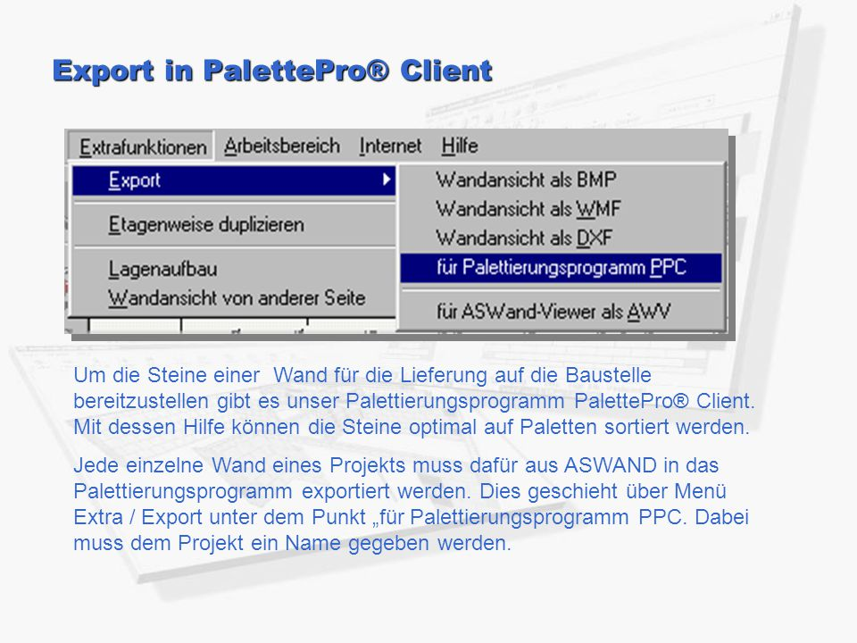 Export in PalettePro® Client