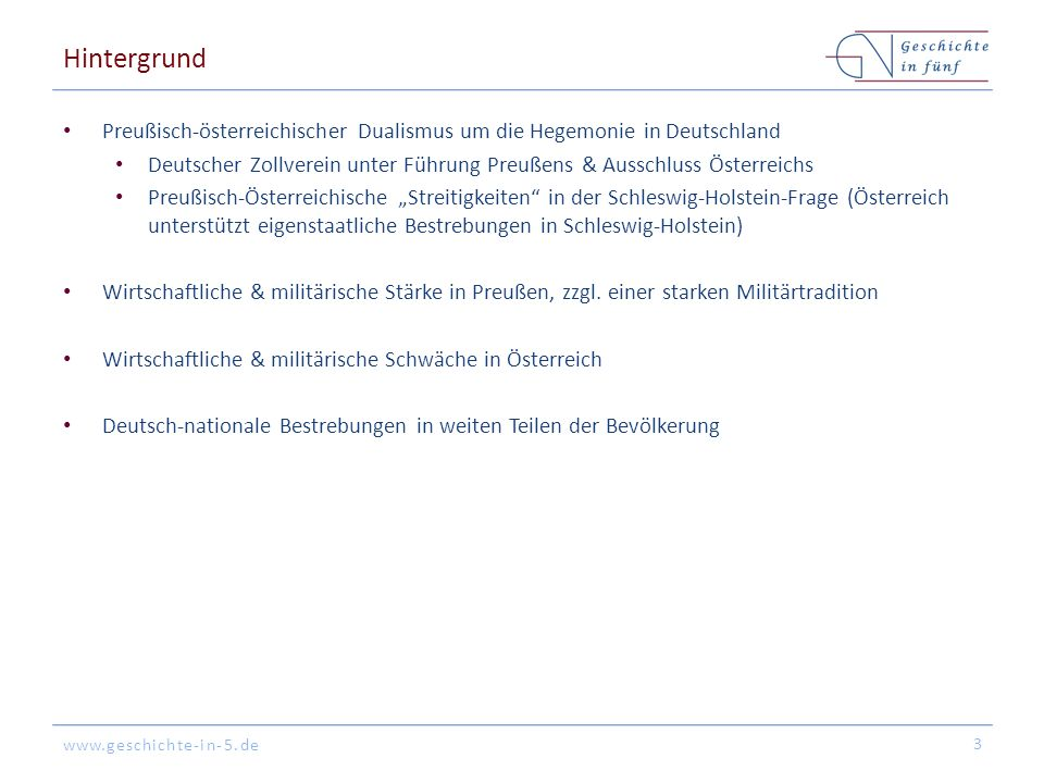 Hintergrund Preußisch-österreichischer Dualismus um die Hegemonie in Deutschland.