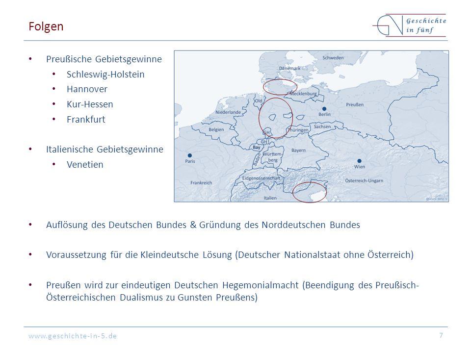 Folgen Preußische Gebietsgewinne Schleswig-Holstein Hannover