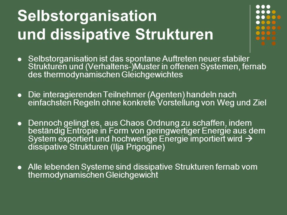 Selbstorganisation und dissipative Strukturen